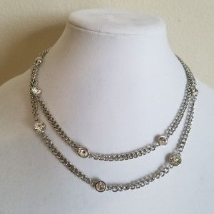 """Beautiful Silver nacklace,Round crystal stone,36"""""""